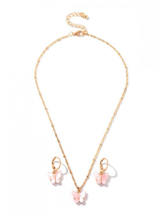 new Resin Butterfly Necklace And Drop Earrings Set - PINK