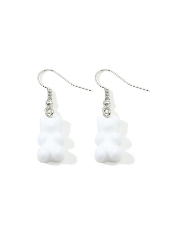 outfit Transparent Bear Drop Earrings - WHITE