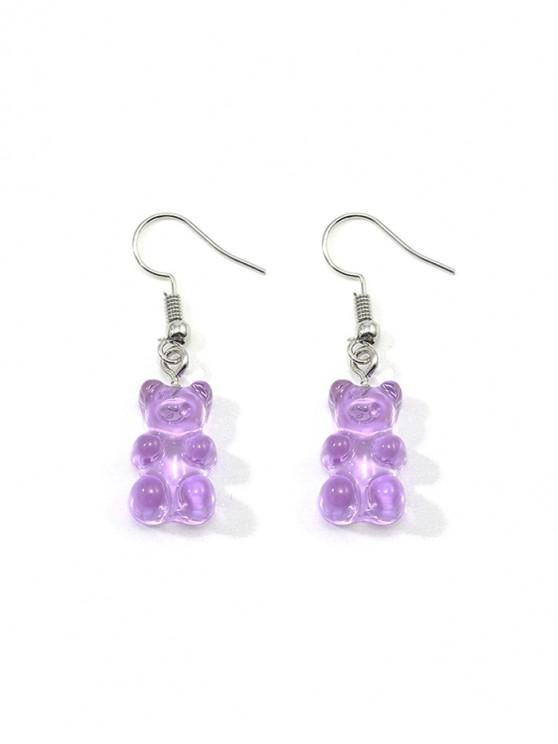 shop Transparent Bear Drop Earrings - PURPLE