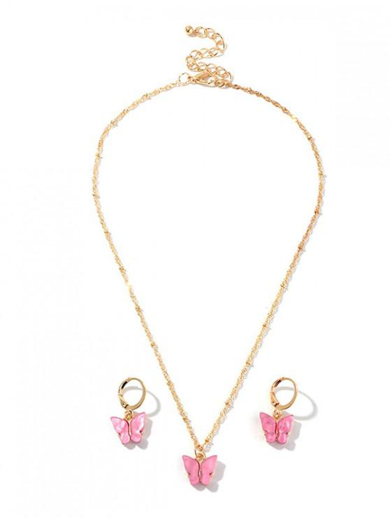 latest Resin Butterfly Necklace And Drop Earrings Set - BRIGHT NEON PINK