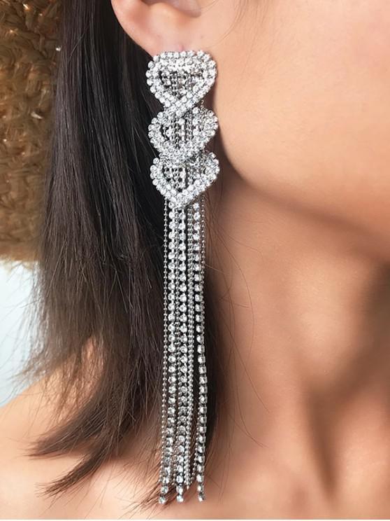 trendy Heart Rhinestone Tassel Earrings - SILVER