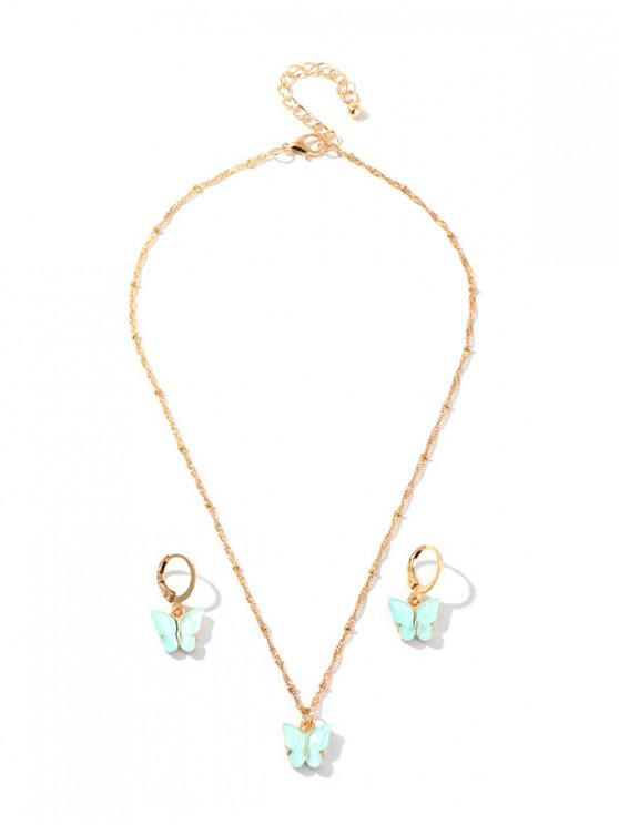 fashion Resin Butterfly Necklace And Drop Earrings Set - MINT GREEN