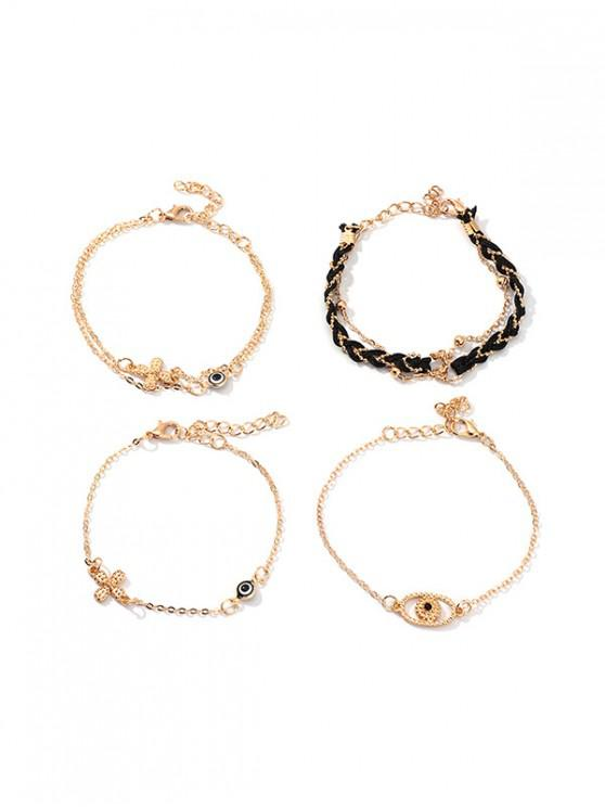 chic Evil Eye Floral Chain Bracelets Set - GOLD