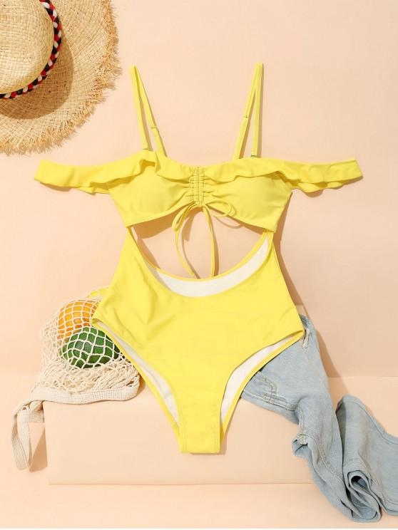 women ZAFUL Ruffled Cinched Tie Cutout High Cut Swimsuit - YELLOW L