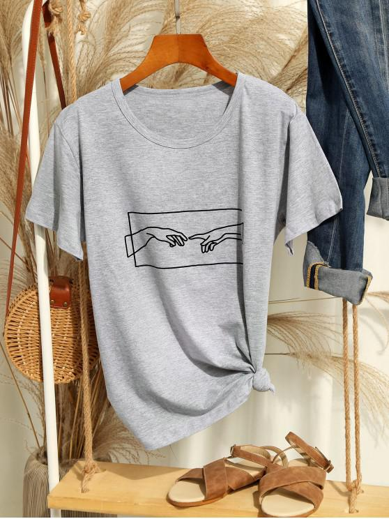 fashion Hand Graphic Jersey Tee - GRAY GOOSE XL