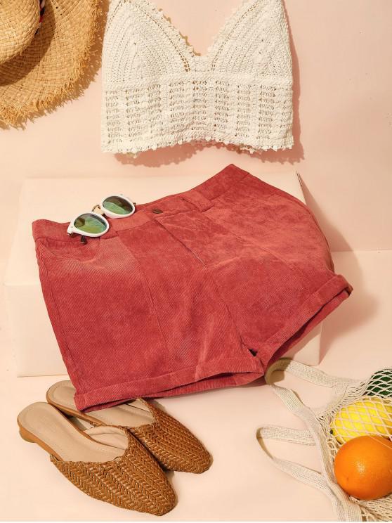 latest ZAFUL Corduroy Cuffed Shorts - CHESTNUT RED M