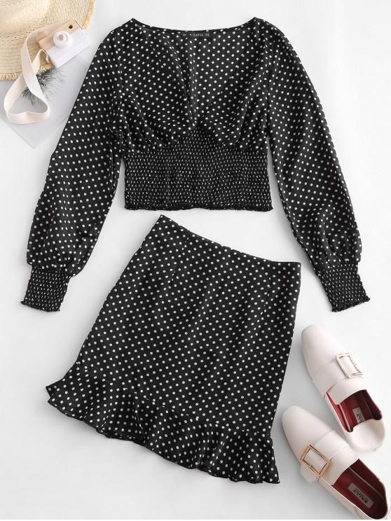 sale ZAFUL Polka Dot Crop Top and Skirt Set - BLACK S