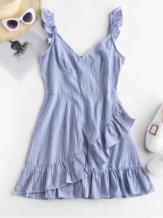 ladies ZAFUL Ruffles Striped A Line Dress - BLUE KOI L