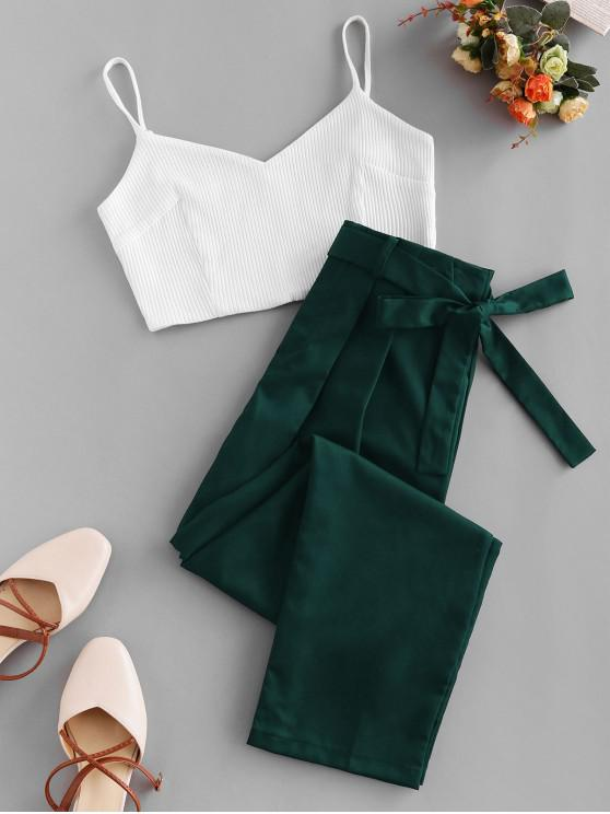 outfits Ribbed Belted Zipper Fly Pencil Pants Set - MEDIUM SEA GREEN XL