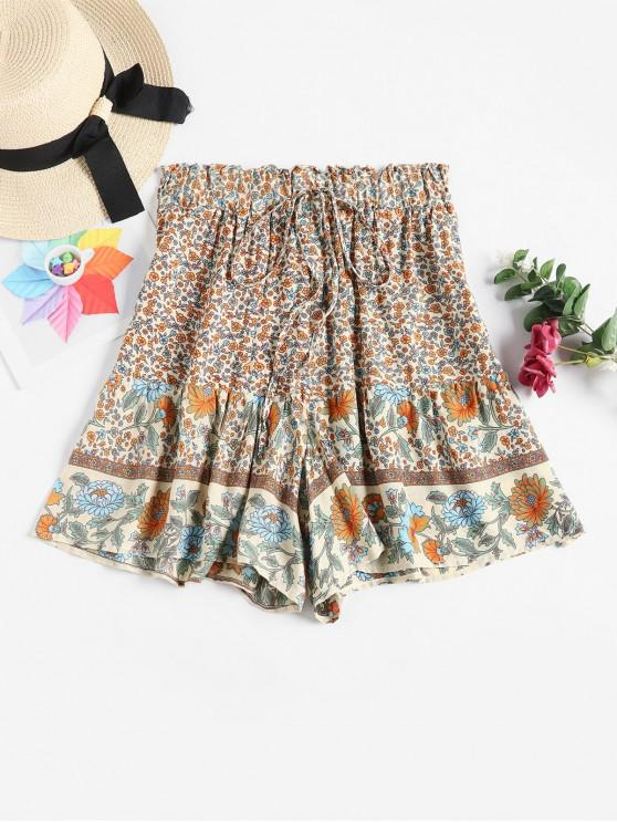 ladies High Waisted Ditsy Floral Wide Leg Shorts - MULTI-A S