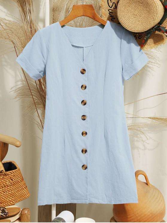 Одноцветное Мини-Платье На пуговицах V-воротник - Бирюзовый непрозрачный L