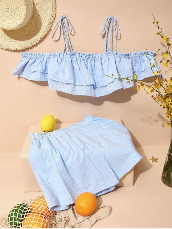 women ZAFUL Striped Tie Shoulder Flounce Two Piece Set - PASTEL BLUE L
