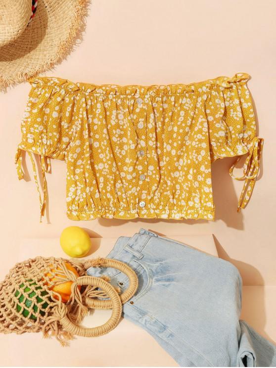 womens ZAFUL Off Shoulder Ditsy Print Ruffle Button Embellished Blouse - YELLOW XL