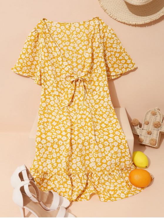 lady ZAFUL Floral Tie Front Butterfly Sleeve Flippy Hem Dress - YELLOW XL