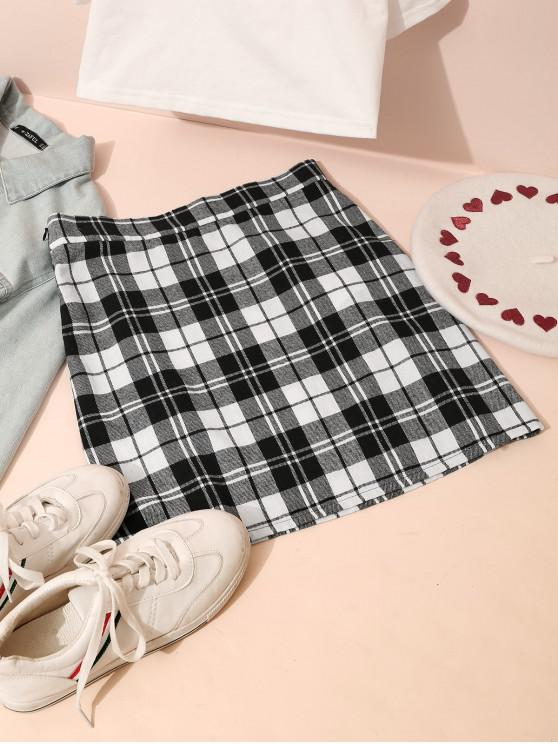 hot ZAFUL Plaid A Line Short Skirt - MULTI XL