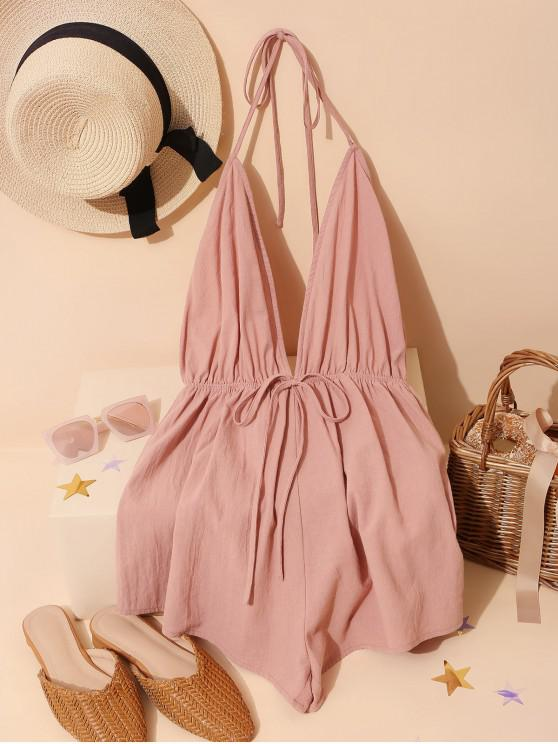 shops ZAFUL Backless Cotton Halter Romper - ROSE XL