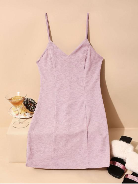 affordable ZAFUL Glittery Sheath Cami Dress - PINK ROSE XL