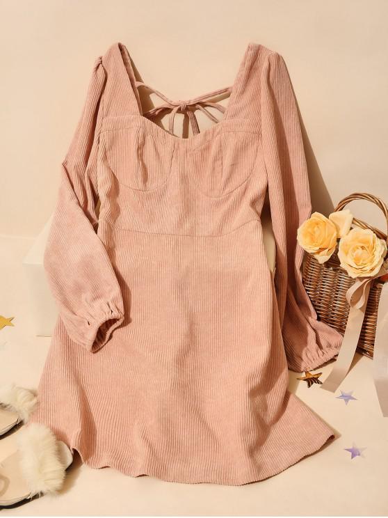 ZAFUL Бант позади Вельветовое Платье А-силуэт - Фламинго-розовый XL