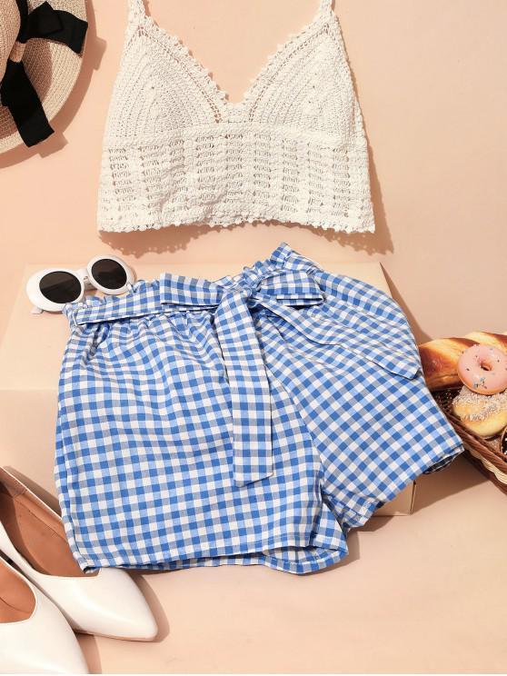 online ZAFUL Plaid Paperbag Waist Wide Leg Shorts - MULTI-B XL