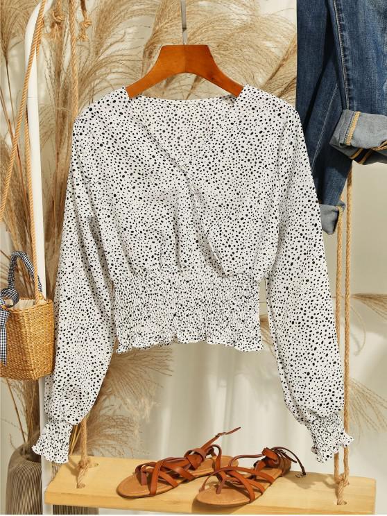 fashion Dalmatian Dot Smocked Crop Blouse - WHITE S