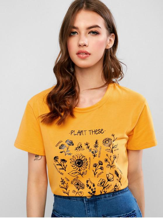 shops Floral Save The Bees Graphic Basic T Shirt - YELLOW S