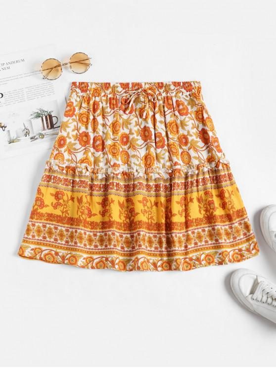 buy Drawstring Waist Floral Mini Skirt - ORANGE S