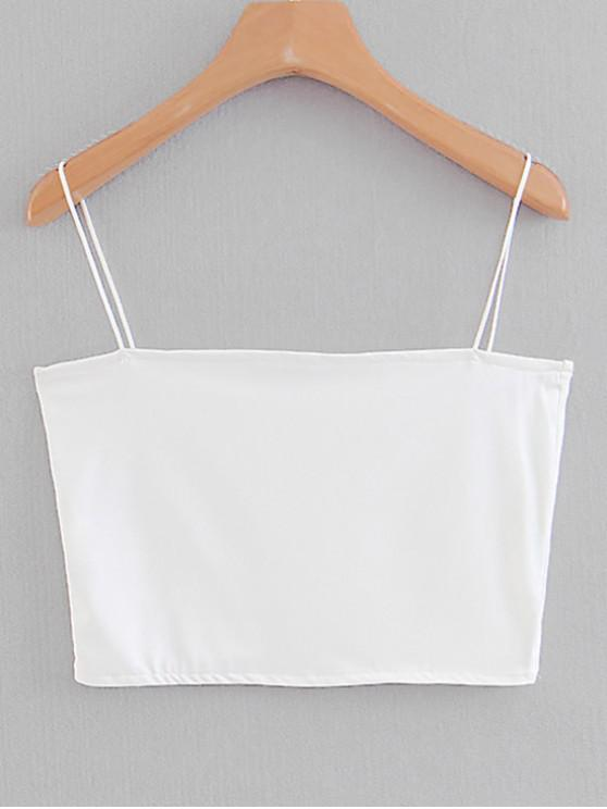 shop Spaghetti Strap Cropped Top - WHITE S