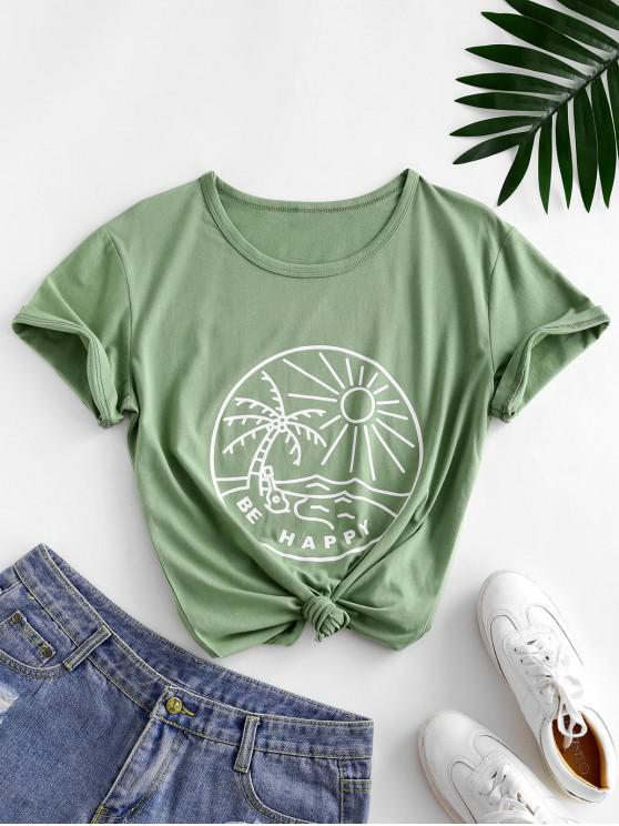 new Funny Coconut Tree and Sun Graphic Cotton Tee - LIGHT GREEN S