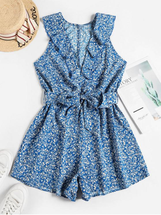 best Sleeveless Ditsy Floral Belted Ruffles Romper - BLUE S