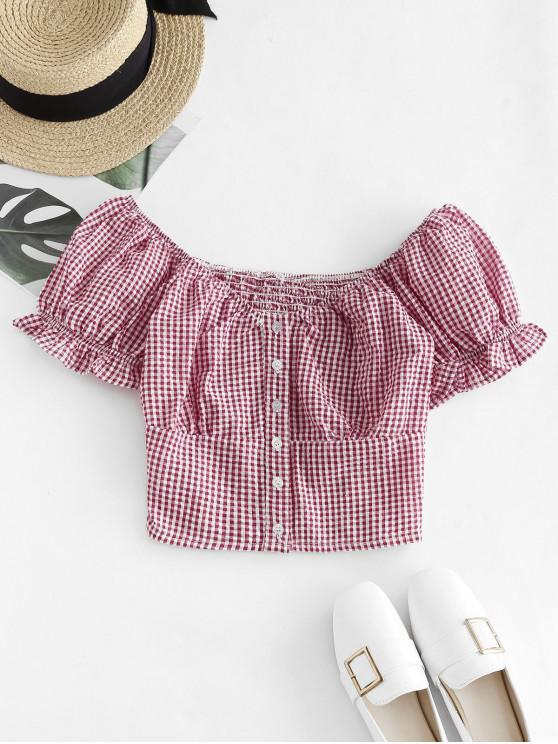 latest Gingham Smocked Button Up Ruffle Crop Blouse - RUBY RED S