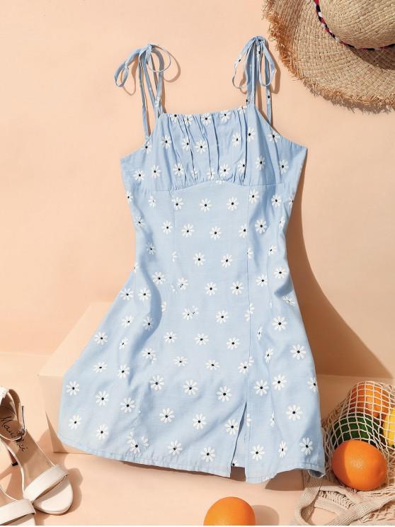 ZAFUL Mini Vestido Floral con Abertura de Hombro con Lazo Lazo - Gris Azulado L