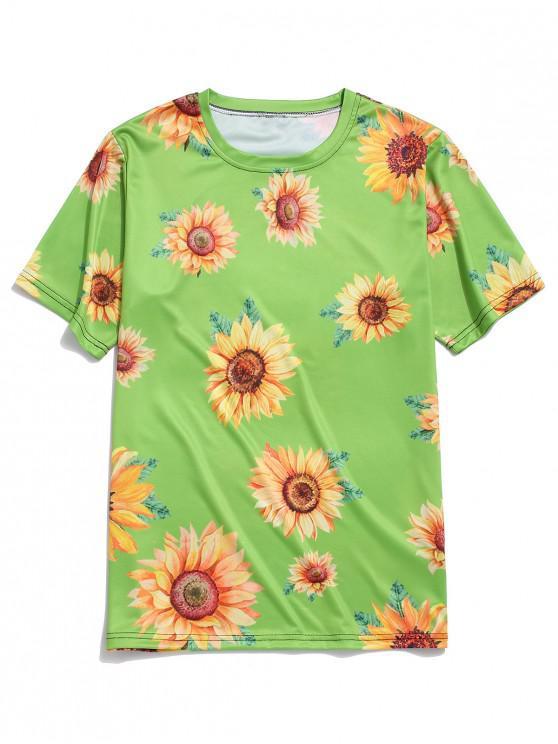 Camiseta de Vacación de Cuello Redondo con Mangas Cortas con Estampado de Girasol - Cebolla Verde 3XL