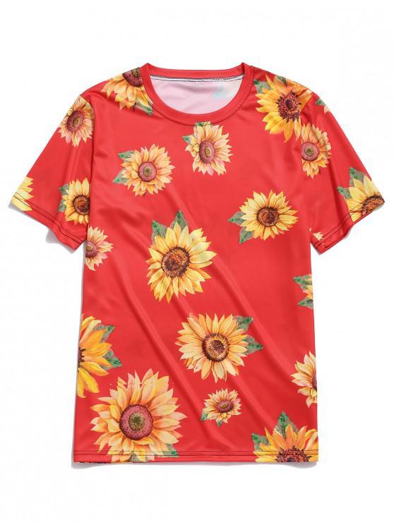 best Short Sleeve Sunflower Print Vacation T-shirt - RED 3XL