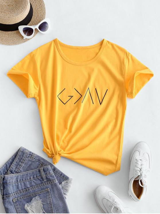 affordable Cotton Graphic Short Sleeves Tee - YELLOW M