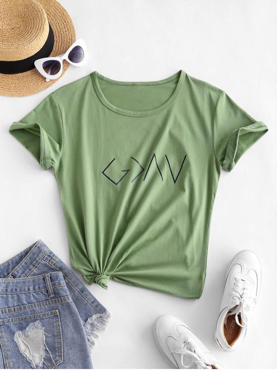 T-shirt Graphique en Coton à Manches Courtes - Vert clair S