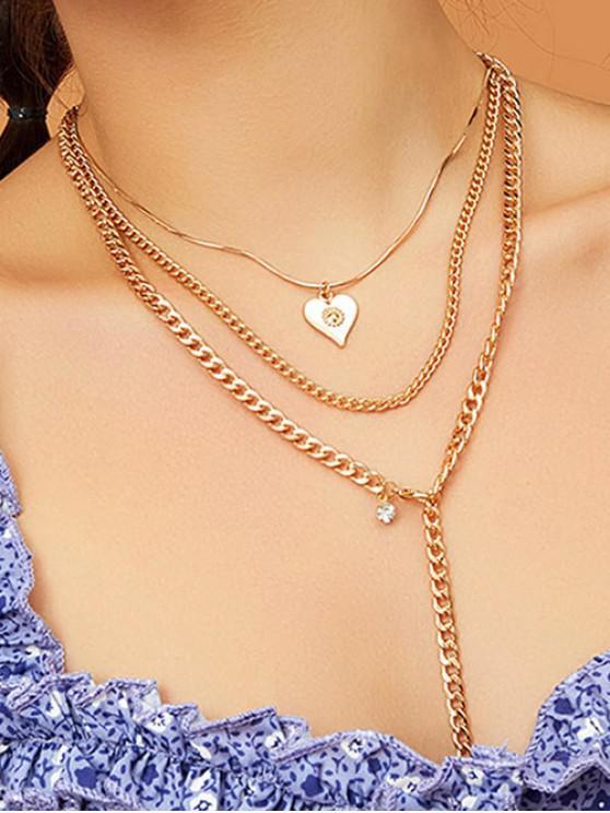 Collar de cadena colgante de corazón de multi capa - Oro