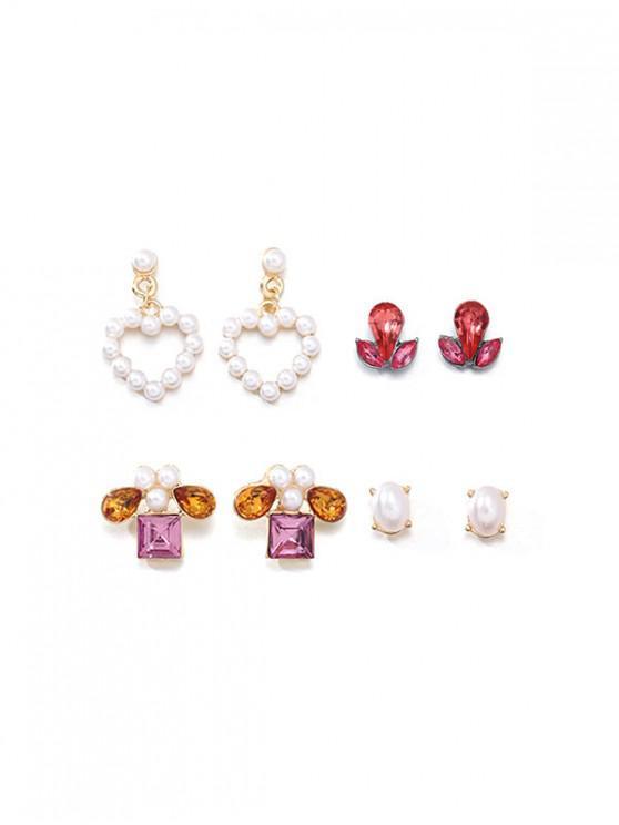 Corazón de la perla 4pairs Faux geométrica pendientes establecidas - Oro