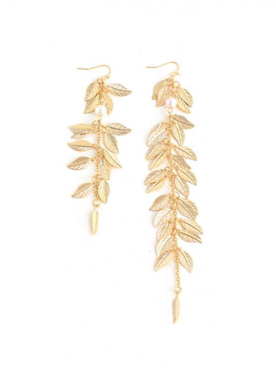 La forma de hojas cuelga los pendientes asimétrico - Oro