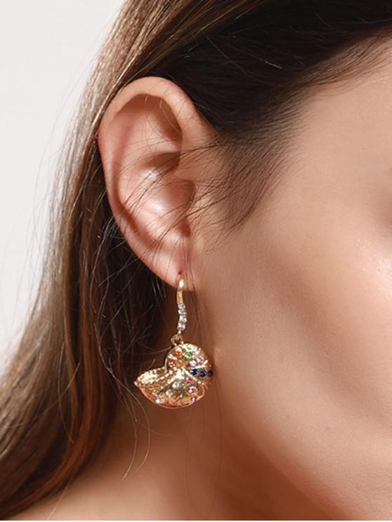 Pendientes de la forma con incrustaciones de diamantes de imitación Shell del caracol - Oro