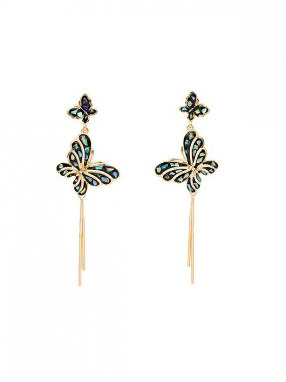 Pendientes borla larga Mariposa Cristal Brillante - Oro