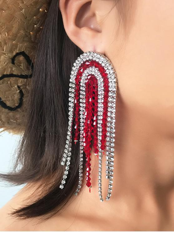 Pendientes largo de la franja de diamantes de imitación - Rojo
