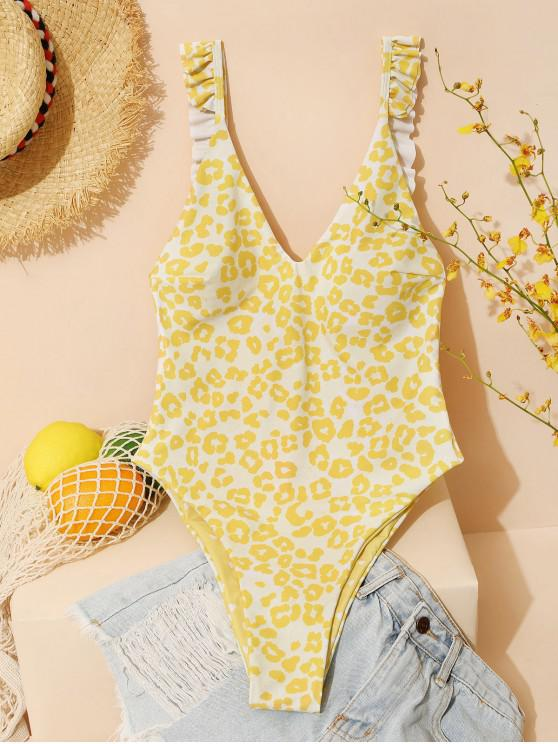 affordable ZAFUL Reversible Leopard Dalmatian Heart Valentine One-piece Swimsuit - YELLOW S