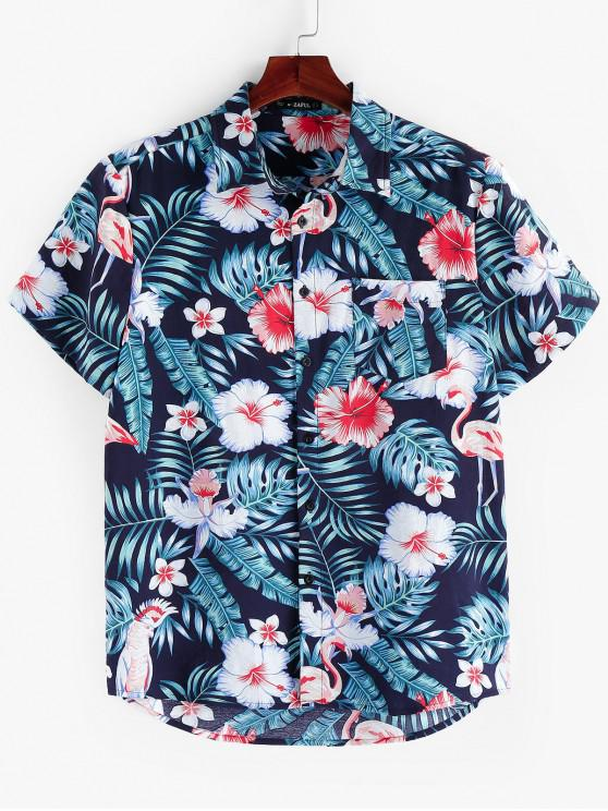 fancy ZAFUL Floral Leaf Print Short Sleeves Shirt - MULTI L