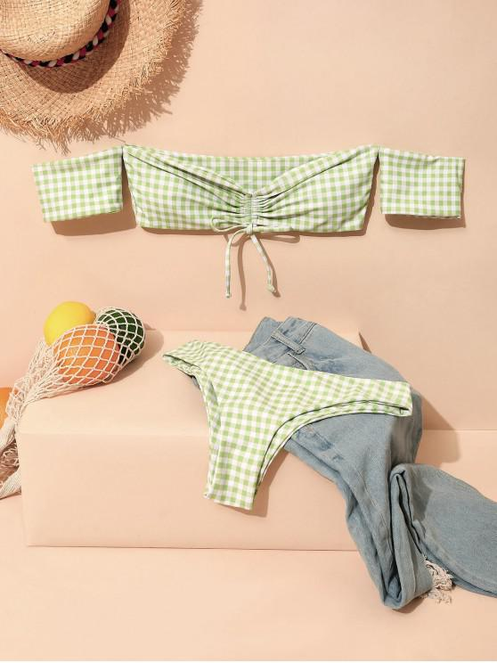 sale ZAFUL Gingham Cinched Off Shoulder Bikini Swimsuit - LIGHT GREEN L