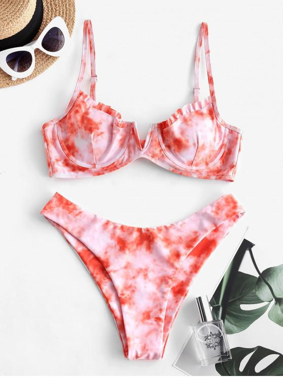 unique ZAFUL Tie Dye Frilled V Notch Underwire Bikini Swimwear - PINK L