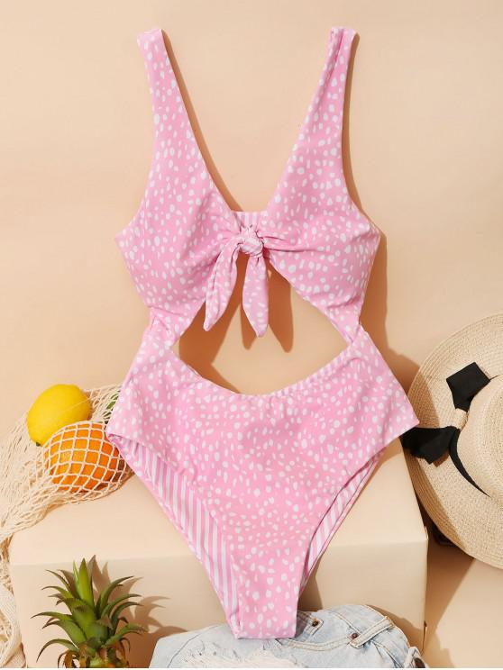 fancy ZAFUL Dalmatians Stripes Reversible Tie Front Cut Out Swimsuit - PINK S