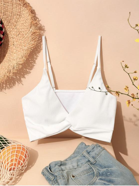 hot ZAFUL Ribbed Twisted Plunge Front Bikini Top - WHITE L