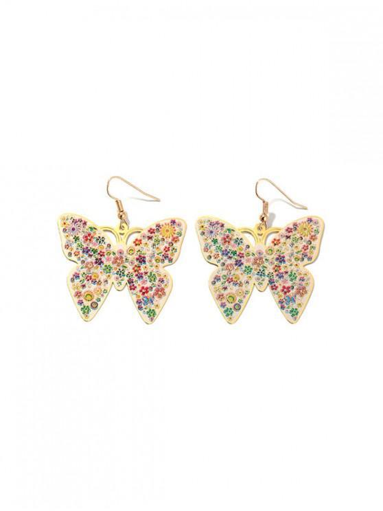 Impresión floral Pendientes de la mariposa - Oro