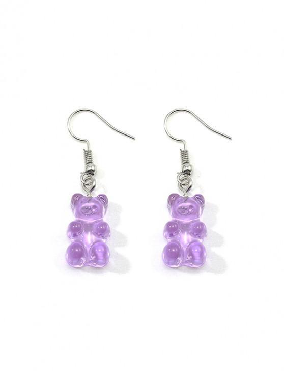 shop Transparent Bear Drop Earrings - PURPLE