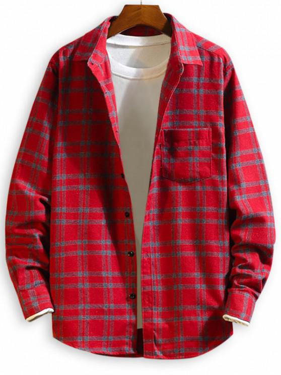 Chest Pocket Plaid Button Up Long Sleeve Shirt - أحمر M